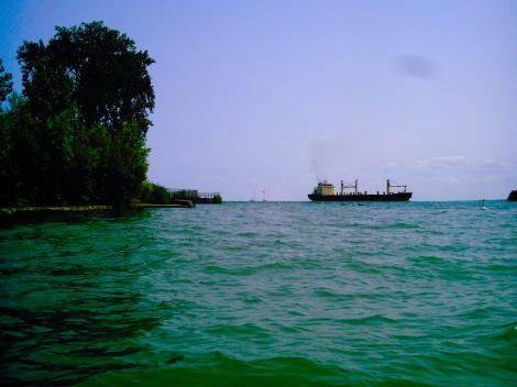 The Detroit River.