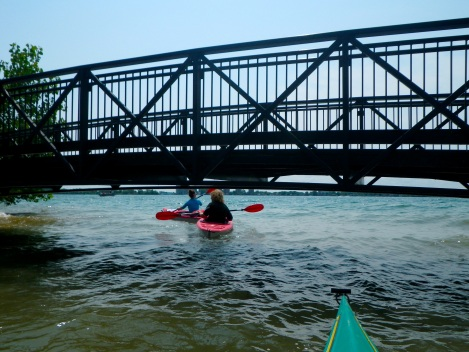 Going under the foot bridge to the Detroit River.
