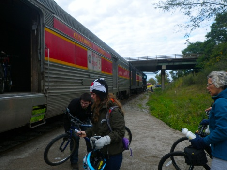 You told the guy where your stop was and they put your bike in a certain spot so they didn't forget to stop the train for you.