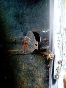 ...a locked door with a porthole...